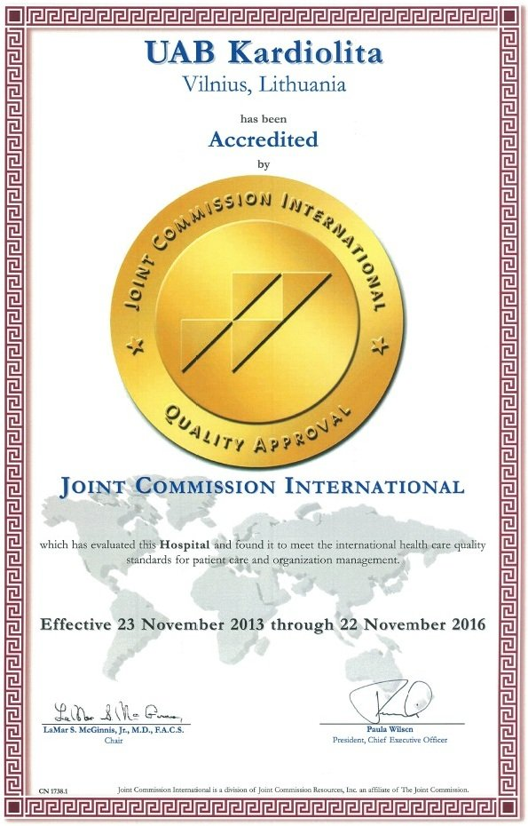 JCI accreditation for Kardiolita Private Hospital in Lithuania