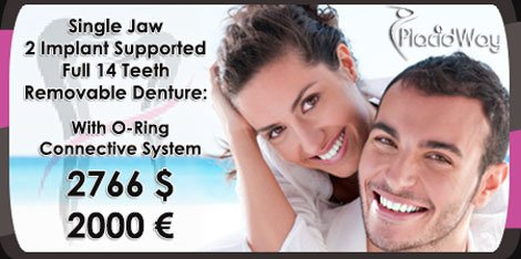 Single Jaw 2 Implant Supported Full 14 Teeth Removable Denture Cost in Turkey