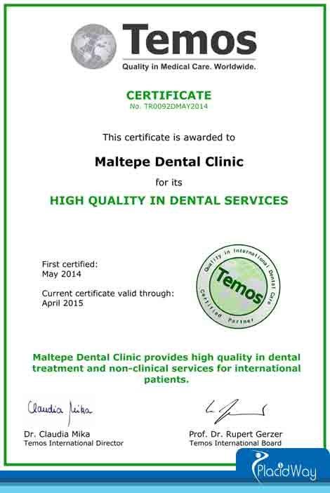 TEMOS Certificate Maltepe Dental Clinic High Quality Turkey