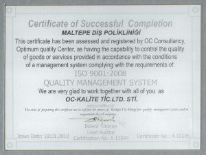 ISO Quality Certificate Maltepe Dental Clinic
