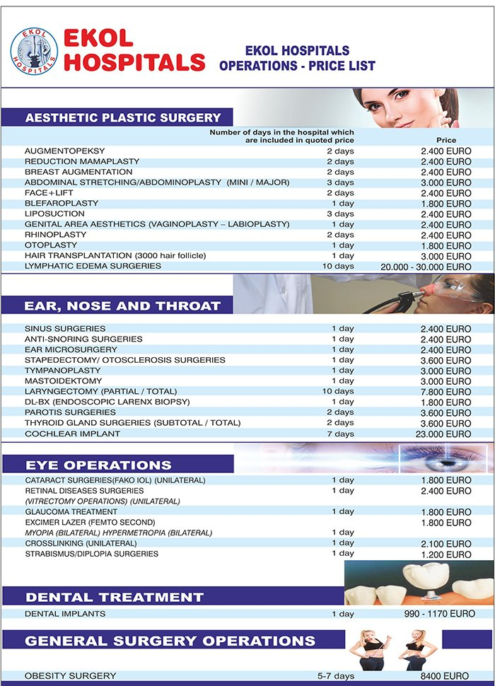 Medical Treatment Prices - EKOL - Turkey