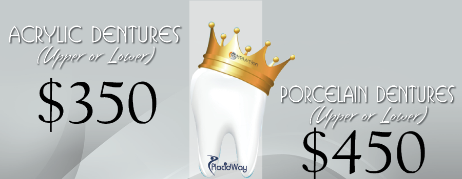 Acrylic and Porcelain Dentures Price Package in Evolution Center Mexico
